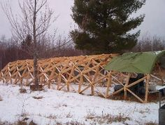 Geodesic Quonset Plans- $40 (Electronic Download). The first (and only?) example of a linear geodesic structure. Very strong, light weight, and inexpensive structure, ideal for garages, workshops, greenhouses, even homes. Can take a very heavy snow load, and extremely resistant to wind.    Can be used to connect Geodesic dome structures, or freestanding on it's own.