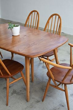 vintage Ercol dining suite, made in England from beech and elm, restored by tangerine & teal, Sydney