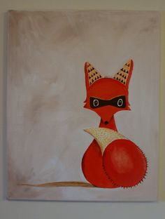 Modern Fox Nursery Art 16x20 painting for kids room by WeekdayBest, $32.00