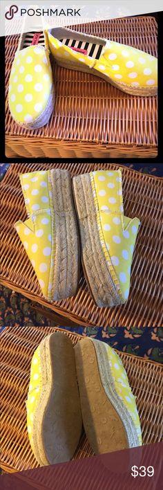 "BETSEY JOHNSON Polka Dot Espadrilles-Size 8.5 Yellow polka Dot espadrilles with 1"" platform. Never worn. Retail at $99 Betsey Johnson Shoes Espadrilles"