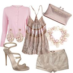 Glimmer blush & beige, created by luchenskil on Polyvore....Cute but without the sweater.