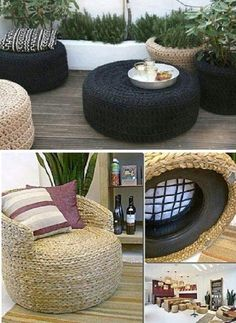 Tire Ottoman Upcycle - Tutorial in our post This looks so comfy! Handmade Home Decor, Diy Home Decor, Handmade Table, Tire Furniture, Diy Casa, Diy Patio, Home Interior Design, Home Crafts, Diy Crafts