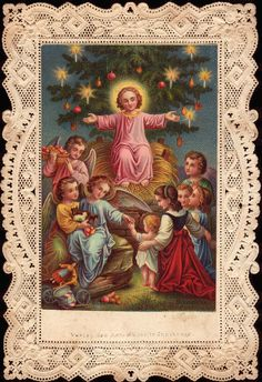 Christ Child of the Christmas tree. YBH - Paper lace holy card