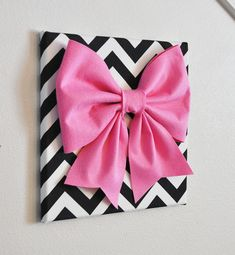 "Large Pink Bow on Black and White Chevron 12 x12"" Canvas Wall Art- Baby Nursery Wall Decor- Zig Zag. $34.00, via Etsy."