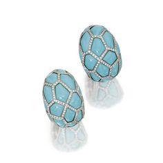 Turquoise and Diamond Earclips, de Grisogono, Geneva