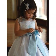 Angels Garment Blue Satin Flower Girl Special Occasion Dress 2T-6
