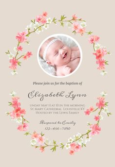 Floral Baby - Free Baptism & Christening Invitation Template | Greetings Island