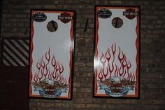 Harley Davidson Custom Cornhole set  These were hand painted, clear coated, LED's, come with handles, and a scoring abacus....