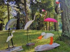 diy pvc birds flamingo blue heron woodpecker egrets