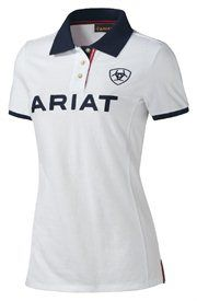 Ariat English Shirt Womens Team Logo Polo White S/S  standupranchers.com FREE SHIPPING