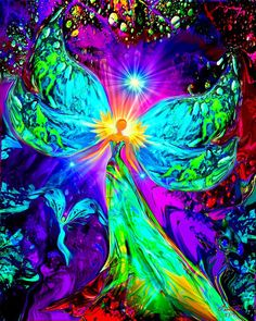 Angel Art Rainbow Psychedelic Print Reiki Energy Meditation