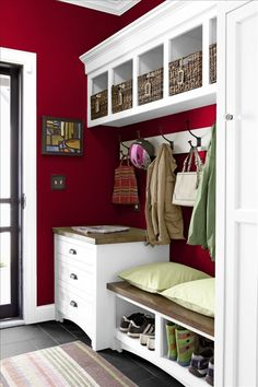 I know I want red in the laundry/mudroom, but do I want red cabinets or red walls?