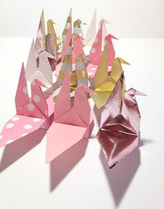 RESERVED for Gina   Origami Wedding Cranes Place Card