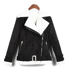 Vogholic Womens Falling Collar Suede Leather Fur Padded Winter CoatBlackXXL -- Continue to the product at the image link. (This is an affiliate link)