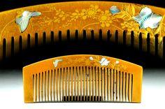 kanzashi hair comb raden - raden kanzashi hair comb - hair comb raden kanzashi - kanzashi hair comb - raden hair - hair comb - raden by JapaVintage on Etsy