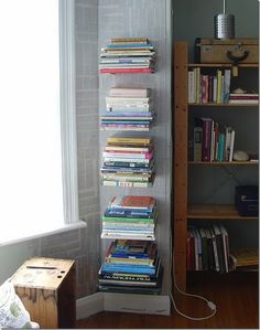 Easy, quick bookshelf! Two brackets, large book on the bottom, stack smaller ones on top!