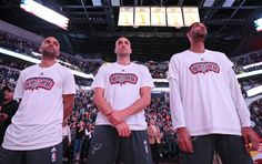San Antonio Spurs' Tony Parker (from left), Manu Ginobili, and Tim Duncan stand during the national anthem before the game with the Charlotte Hornets  Saturday Nov. 7, 2015 at the AT&T Center. Photo: Edward A. Ornelas, Staff / San Antonio Express-News / © 2015 San Antonio Express-News