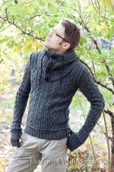 Стильный мужской свитер + снуд и митенки