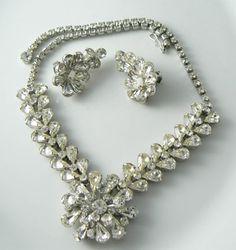 Rhinestone Necklace Earrings Vintage 1950's by VintageLaneJewelry