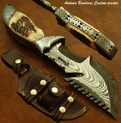 Antonio Banderas 1 of A Kind Custom Bushcraft Damascus Tracker Knife Survival | eBay