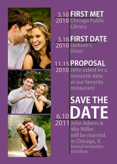 a+timeline+for+save+the+date!+so+cute!  - Click image to find more Weddings Pinterest pins