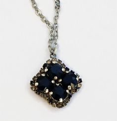 Swarovski crystal 8mm four stone pendant necklace jet balck #Swarovski