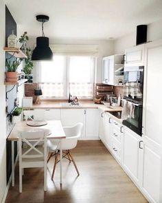 38 creative small kitchen design and organization ideas 24 Apartment Kitchen, Home Decor Kitchen, Home Kitchens, Kitchen Dining, Big Kitchen, Kitchen Designs, Kitchen Ideas, Apartment Living, Dining Rooms