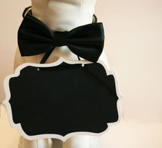 Black Dog Bow Tie and Small Chalk Board attached to the collar, Bridal Sign, Here Comes the Bride Sign, Ring Bearer, Proposal sign