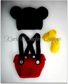 b86f001e6de Mickey Mouse Ears Crocheted Baby Diaper Cover Set   Red   Diaper Cover w  Adjustable Suspenders
