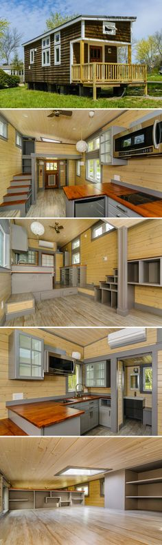A 300 sq.ft tiny house with impressive interior includes an abundance of storage spaces, 34″ x 42″ custom shower, art workspace, and heated floors.