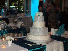 vintage wedding, roaring twenties, teal wedding bling cake