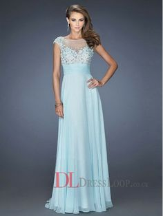 A-Line High Neck Sleeveless Chiffon Prom Dress/Party Dresses With Appliques VTBK132