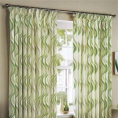 green curtain features a repeated natural pale green and darker green