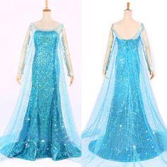 Frozen Elsa Queen Princess Adult Women Evening Party Dress Costume Elsa Dresses #GL #preppystyle #Everyday