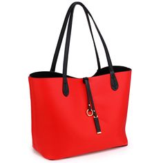 Womens Reversible Designer Faux leather Large Size Shoulder Hand Bags | Black/Red — Linens Range