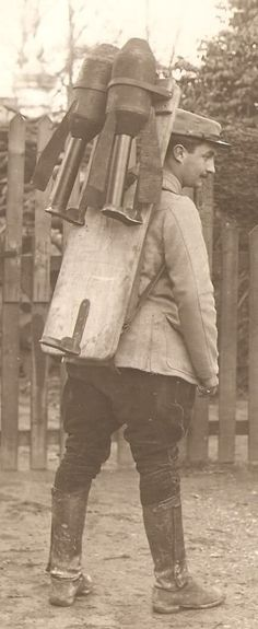 French soldier carrying munitions for the Crapouillot 58mm trench mortar