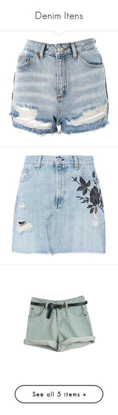 """""""Denim Itens"""" by dianasf ❤ liked on Polyvore featuring shorts, topshop, mid stone, summer shorts, american flag denim shorts, american flag shorts, denim short shorts, usa flag shorts, skirts and mini skirts"""