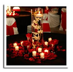 65 Trendy wedding centerpieces red and black floating candles Red Wedding Centerpieces, Floating Candle Centerpieces, Reception Decorations, Centerpiece Ideas, Reception Ideas, Reception Table, Votive Candles, Red Table Decorations, Flower Centrepieces