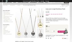 Live love laugh necklaces in gold, silver and dark silver