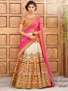 Cream Silk Printed Lehenga Choli