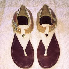Bakers Gladiator Sandals Size 8. Tan / beige: gold hardware. Excellent / like new condition. Bakers Shoes Sandals