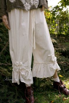 Bohemian Linen Bloomers with Ruffles and Roses by BohemianAngels