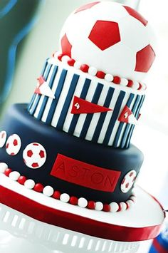 Closeup of the adorable red ball soccer cake
