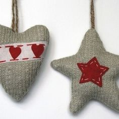 Danish Knit Christmas Decorations. Think about it combined with beads!