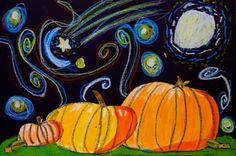 """Mr. O's Art Room: 2nd Grade """"Starry Night in the Pumpkin Patch"""" by mae"""