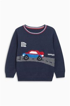 Buy Navy Car Jumper from the Next UK online shop Source by Baby Boy Knitting, Baby Knitting Patterns, Baby Patterns, Knit Baby Sweaters, Boys Sweaters, Stylish Boys, Pulls, Latest Fashion For Women, Crochet Baby