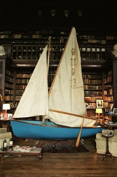 They obviously felt the library was a perfectly reasonable place to store the sailboat.. looks cool