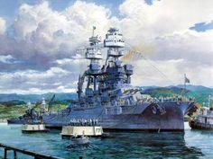 USS Arizona BB-39 The 'Last Mooring' portrait of the USS Arizona BB-39 by Tom Freeman 10x7