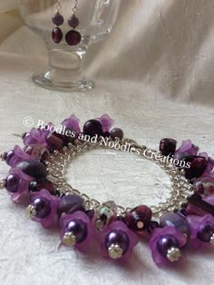 Lucite Flower and Glass Bead Charm Bracelet.. by BoodlesandNoodles, £10.00