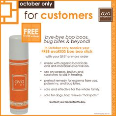 Don't miss out on our October Exclusive Special for customers!  Say bye-bye boo boos, bug bites & beyond with out Boo Boo Stick! Find out more at avaandersonnontoxic.com #avaanderson #avaandersonnontoxic #kids #nontoxic #health #beauty